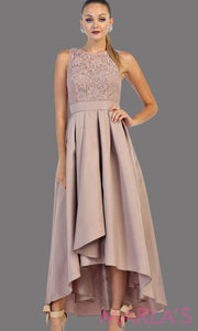 High low mocha or champagne dress with lace bodice and satin skirt. This is a perfect dress for attending a wedding as a guest, prom, grade 8 graduation.