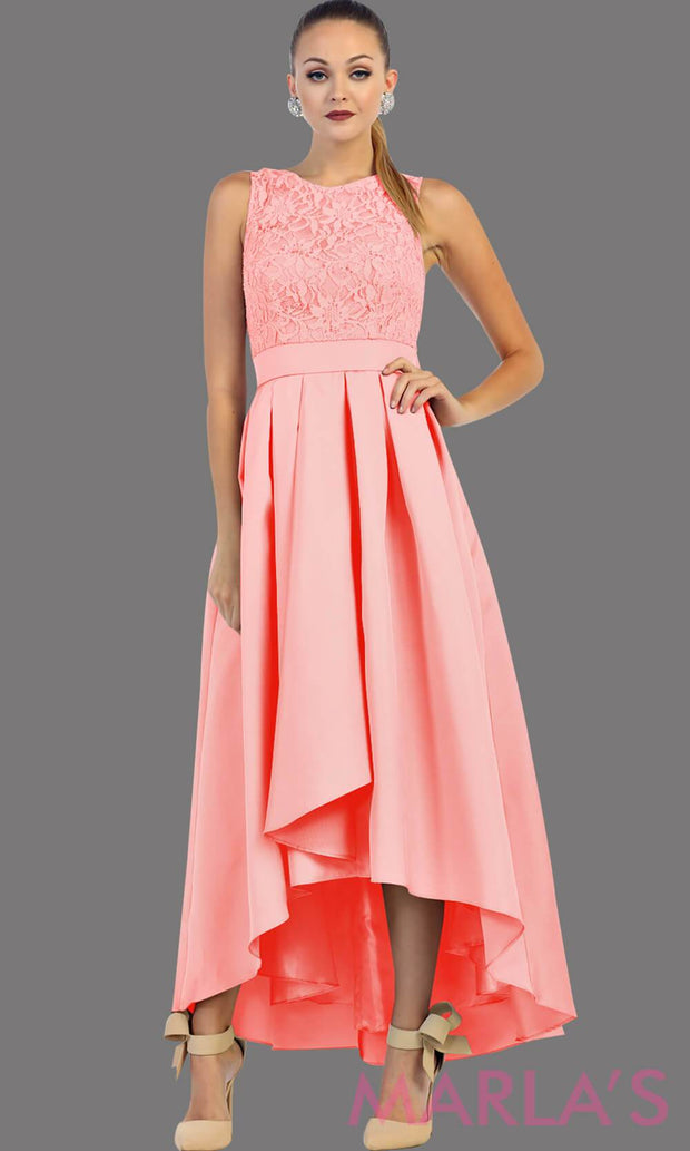High low pink dress with lace bodice and satin skirt. This is a perfect pink party dress for attending a wedding as a guest, prom, grade 8 graduation