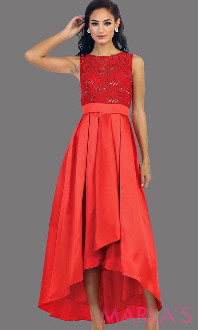 High low red dress with lace bodice and satin skirt. This is a perfect dress for attending a wedding as a guest, prom, grade 8 graduation.
