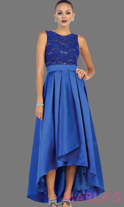 High low blue dress with lace bodice and satin skirt. This is a perfect dress for attending a wedding as a guest, prom, grade 8 graduation.