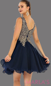 Back of short flowy navy dress with gold lace detail on the bodice. This is a perfect dark blue grade 8 graduation dress, grad dress, prom, wedding guest dress, dark blue confirmation dress. Available in plus sizes