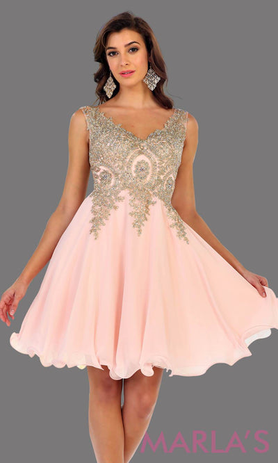 Short flowy blush dress with gold lace detail on the bodice. This is a perfect pink grade 8 graduation dress, grad dress, prom, wedding guest dress, light pink confirmation dress. Available in plus sizes