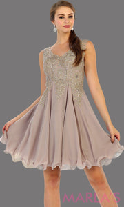 Short flowy mocha dress with gold lace detail on the bodice. This is a perfect taupe grade 8 graduation dress, grad dress, prom, wedding guest dress, light taupe confirmation dress. Available in plus sizes