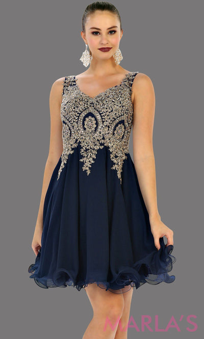 Short flowy navy dress with gold lace detail on the bodice. This is a perfect dark blue grade 8 graduation dress, grad dress, prom, wedding guest dress, blue confirmation dress. Available in plus sizes