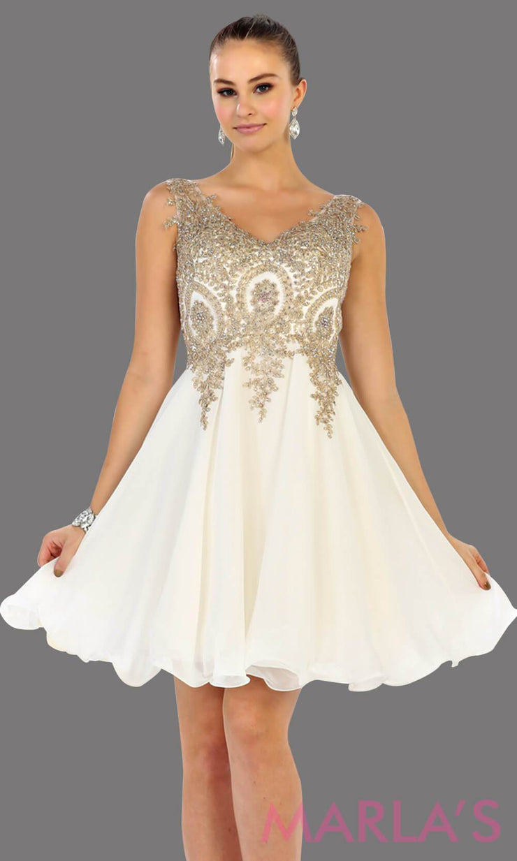 Short flowy white dress with gold lace detail on the bodice. This is a perfect grade 8 graduation dress, grad dress, prom, wedding guest dress, white confirmation dress. Available in plus sizes