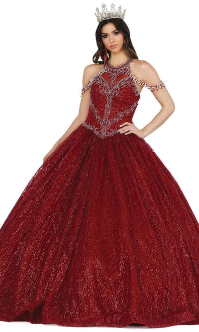 Dancing Queen - 1420 Embellished Halter Neck Ballgown In Red