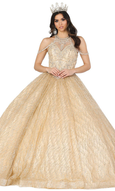 Dancing Queen - 1420 Embellished Halter Neck Ballgown In Gold