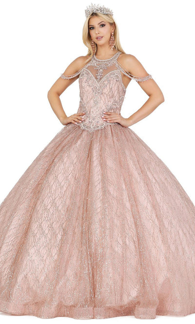 Dancing Queen - 1420 Embellished Halter Neck Ballgown In Pink
