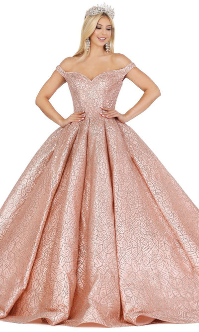 Dancing Queen - 1421 Embellished Off Shoulder Ballgown In Pink