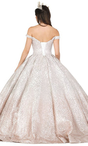 Dancing Queen - 1421 Embellished Off Shoulder Ballgown In Silver and Pink