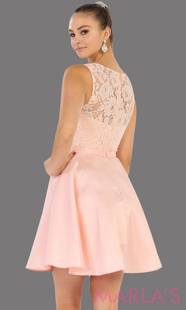 Back of Short simple  semi formal blush pink dress with lace bodice and satin skirt. Light pink dress is perfect for grade 8 grad, graduation, short prom, damas quinceanera, confirmation. Available in plus sizes.
