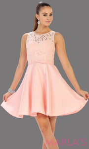 Short simple  semi formal blush pink dress with lace bodice and satin skirt. Light pink dress is perfect for grade 8 grad, graduation, short prom, damas quinceanera, confirmation. Available in plus sizes.