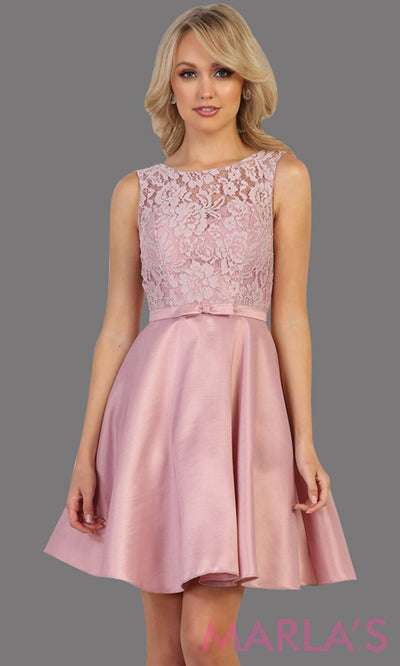 Short simple  semi formal mauve dress with lace bodice and satin skirt. Dusty rose dress is perfect for grade 8 grad, graduation, short prom, damas quinceanera, confirmation. Available in plus sizes.