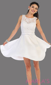 Short simple  semi formal white dress with lace bodice and satin skirt. White dress is perfect for grade 8 grad, graduation, short prom, damas quinceanera, confirmation. Available in plus sizes.