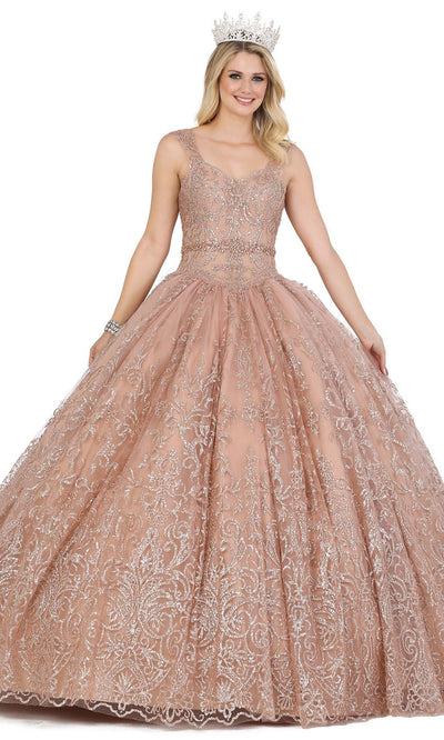 Dancing Queen - 1423 Sleeveless V Neck Embroidered Ballgown In Neutral