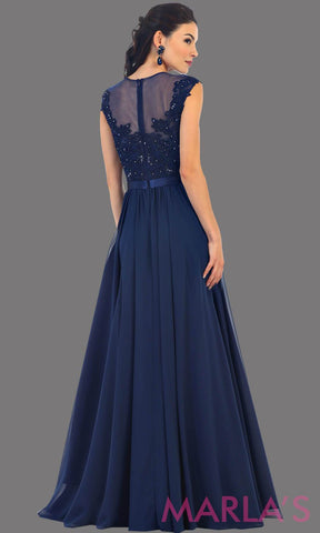 Back of long navy dress with sheer lace bodice. It has a lace illusion neckline and flowy chiffon skirt. This is perfect for an elegant party, dress for a wedding guest, or even a modest prom dress