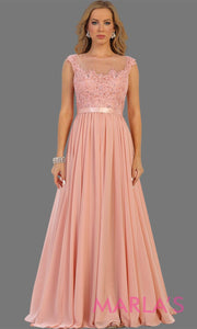 long blush pink dress with sheer lace bodice. It has a lace illusion neckline and flowy chiffon skirt. This is perfect for an elegant party, dress for a wedidng guest, or even a modest light pink prom dress.