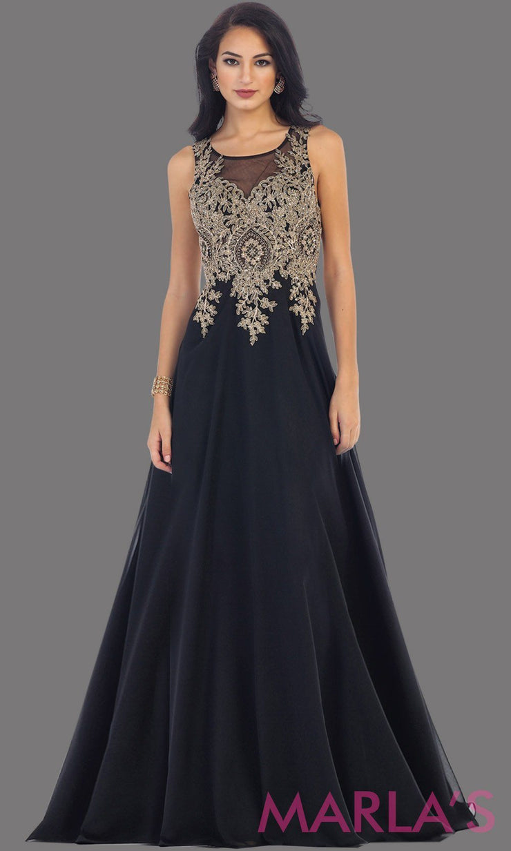 Long black evening dress with gold lace and sheer back with flowy skirt. This black gown is perfect for prom, gala, wedding guest, formal party dress, anniversary party, evening dress. Available in plus sizes.