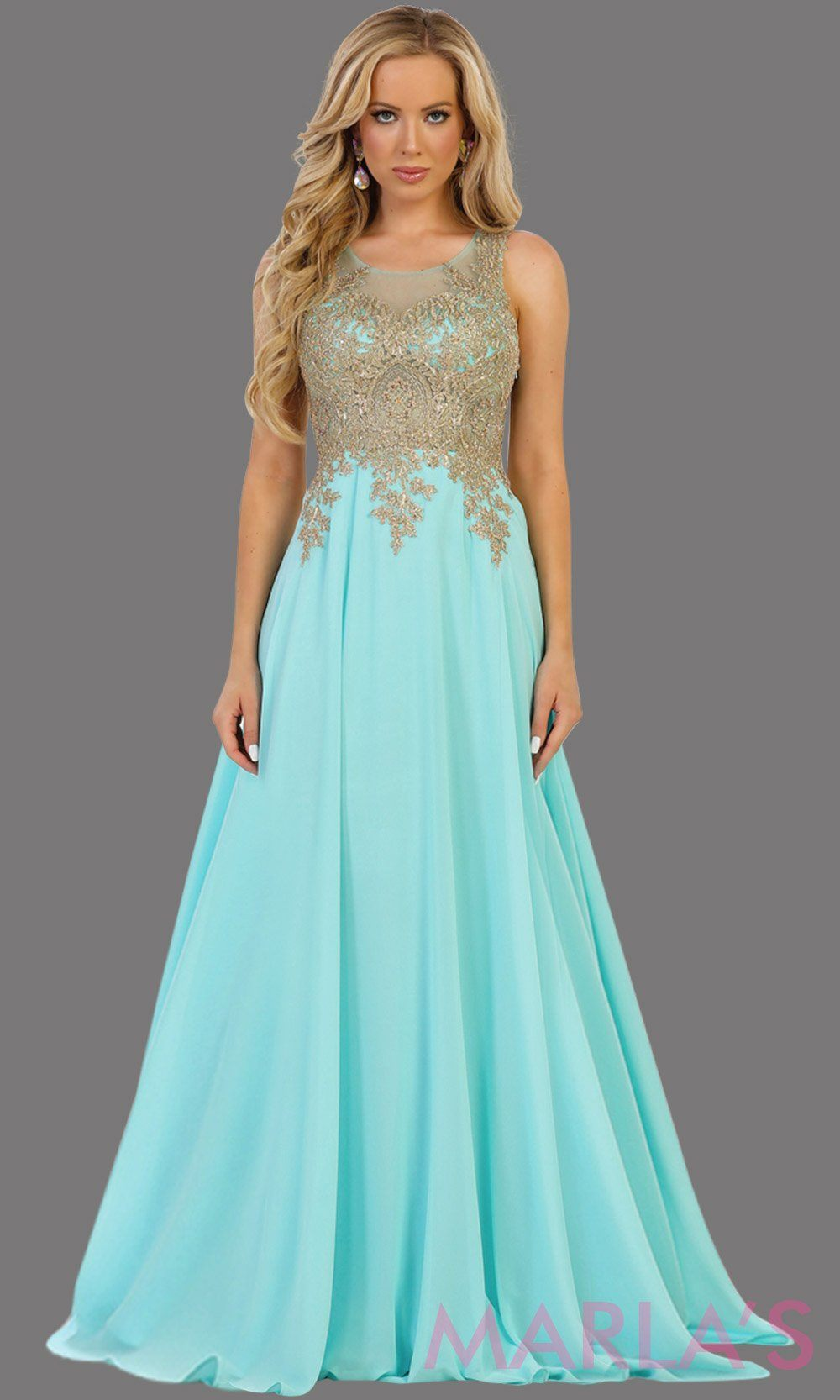 Long light blue evening dress with gold lace, sheer back and flowy skirt. This aqua blue gown is perfect for prom, gala, wedding guest, formal party dress, anniversary party, evening dress. Available in plus sizes.