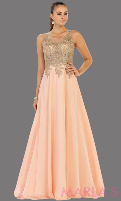 Long light pink evening dress with gold lace, sheer back and flowy skirt. This blush pink gown is perfect for prom, gala, wedding guest, formal party dress, anniversary party, evening dress. Available in plus sizes.