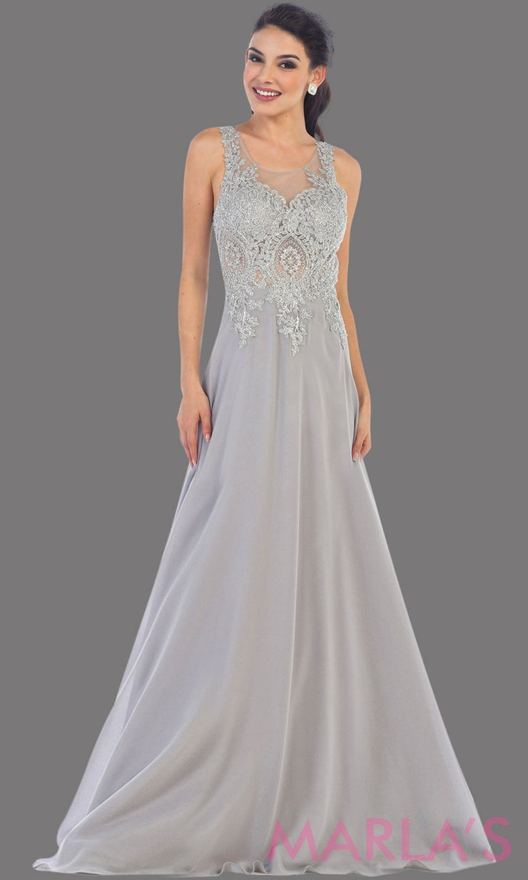 Long light silver evening dress with gray lace, sheer back and flowy skirt. This gray gown is perfect for prom, gala, wedding guest, formal party dress, anniversary party, evening dress. Available in plus sizes.