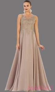 Long mocha evening dress with gold lace, sheer back and flowy skirt. This light mocha gown is perfect for prom, gala, wedding guest, formal party dress, anniversary party, evening dress. Available in plus sizes.