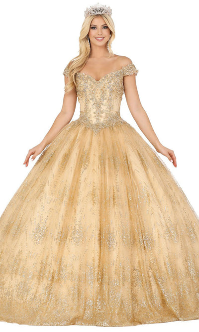 Dancing Queen - 1441 Off Shoulder Corset Glitter Ballgown In Champagne & Gold