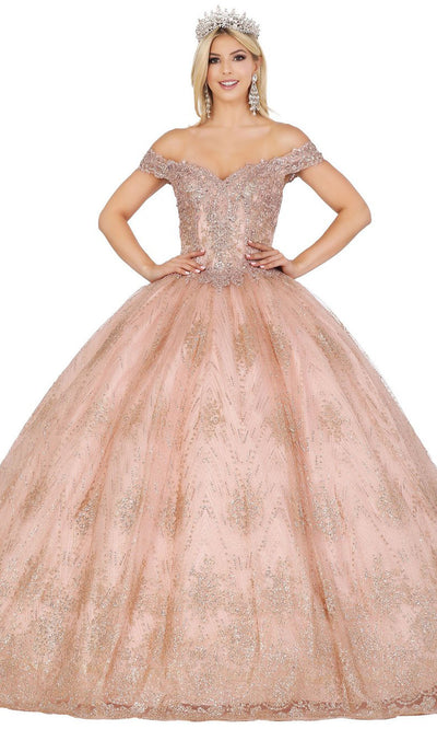 Dancing Queen - 1441 Off Shoulder Corset Glitter Ballgown In Pink