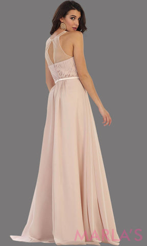Back of long champagne flowy dress with high neck mesh neckline. This is perfect for your next party, or wedding guest dress, as a prom dress. This dress is also available in plus size