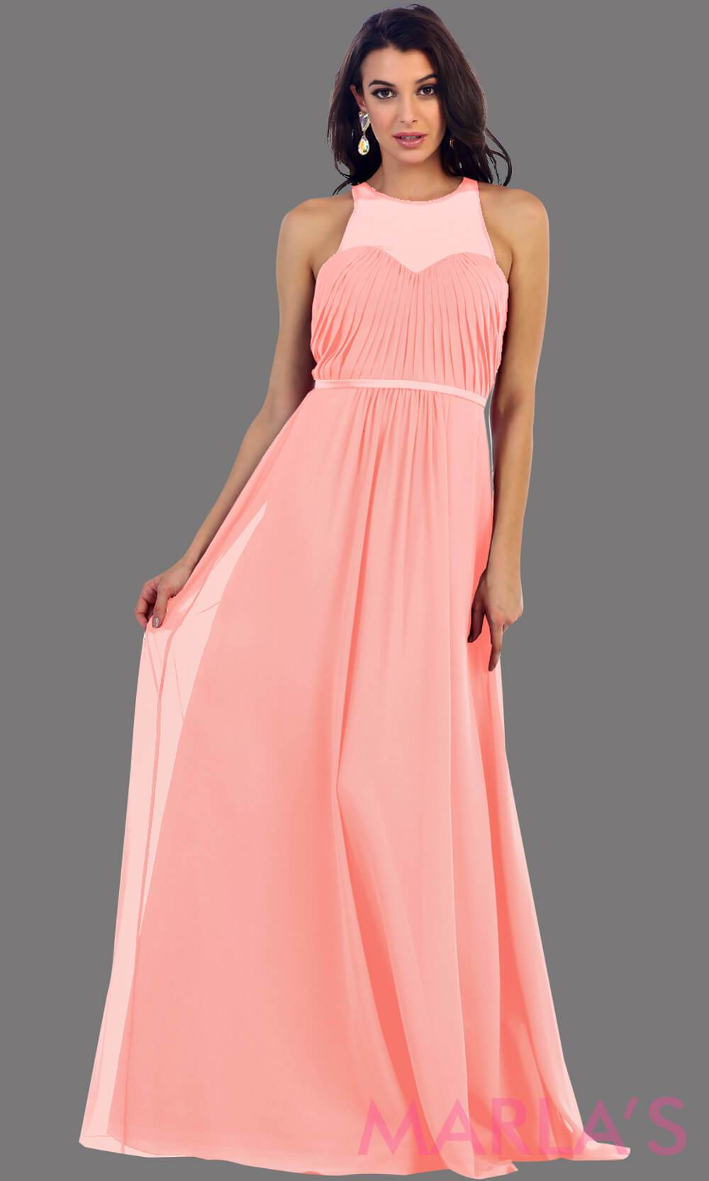 Long Champagne Illusion High Neck Pleated Bodice
