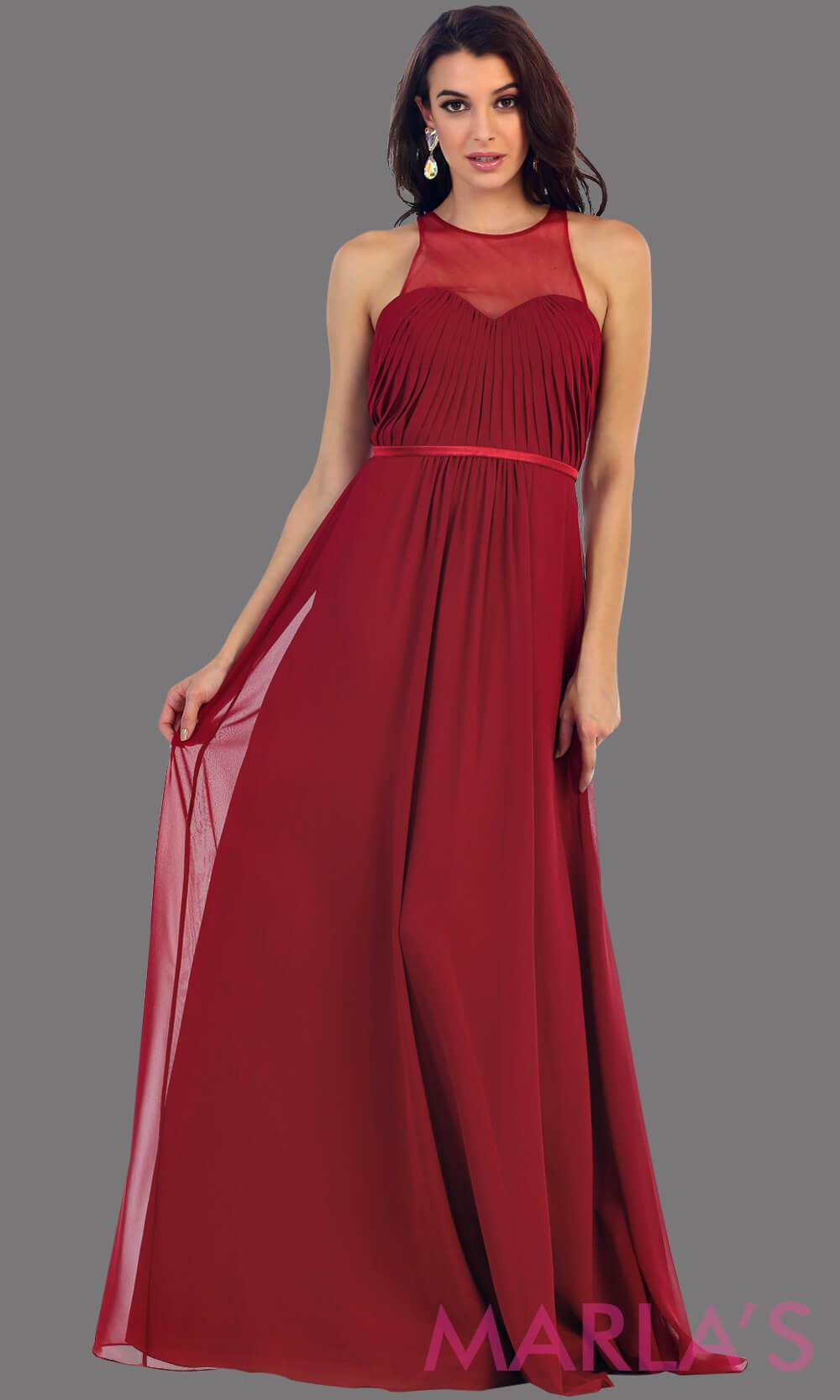 Long burgandy flowy dress with high neck mesh neckline. This is perfect for your next party, or wedding guest dress, as a prom dress. This dress is also available in plus size