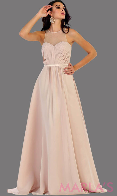 Long champagne flowy dress with high neck mesh neckline. This is perfect for your next party, or wedding guest dress, as a prom dress. This dress is also available in plus size