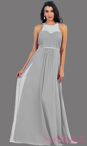 Long Silver Illusion High Neck Pleated Bodice