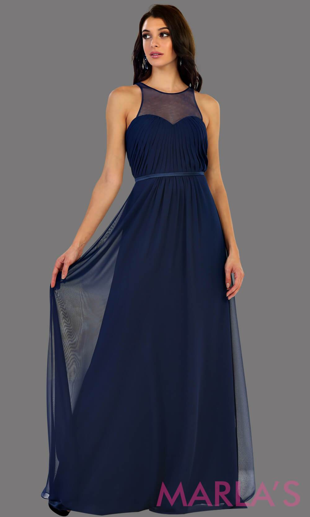 Long navy flowy dress with high neck mesh neckline. This is perfect for your next party, or wedding guest dress, as a prom dress. This dress is also available in plus size