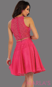 1444-Back of short two piece flowy hot pink dress with sequin bodice. This is a perfect fucshia grade 8 graduation dress, grad dress, short prom dress, homecoming, or damas. Available in plus sizes.
