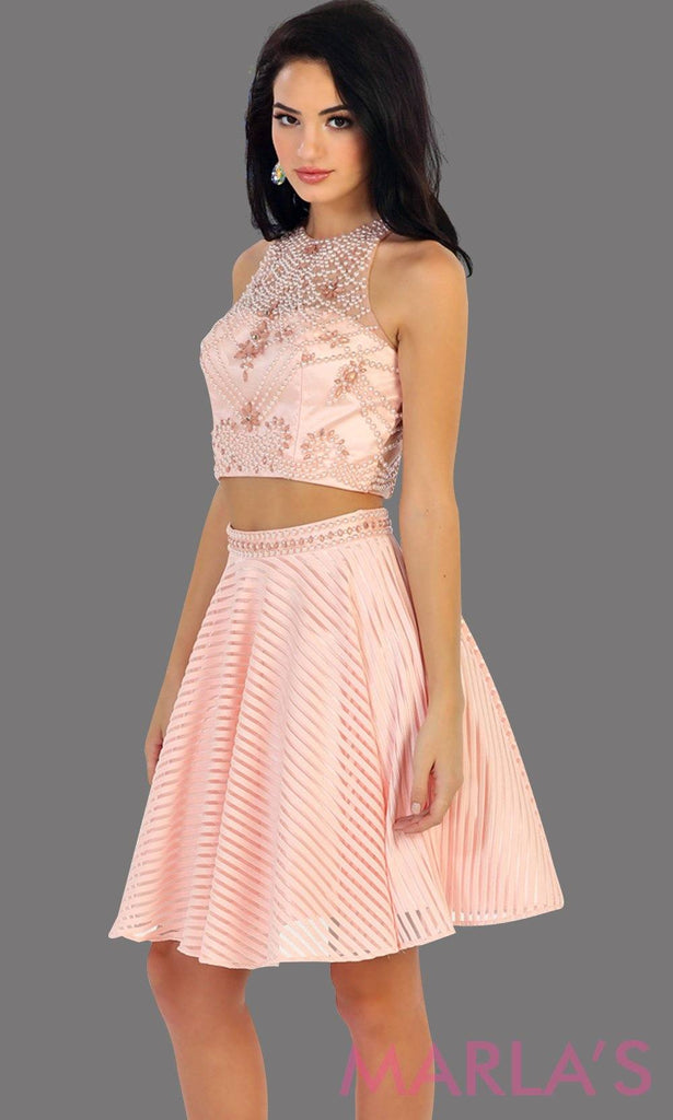 1444-Short two piece flowy blush dress with pink sequin bodice. This is a perfect light pink grade 8 graduation dress, grad dress, short prom dress, homecoming, or damas. Available in plus sizes.