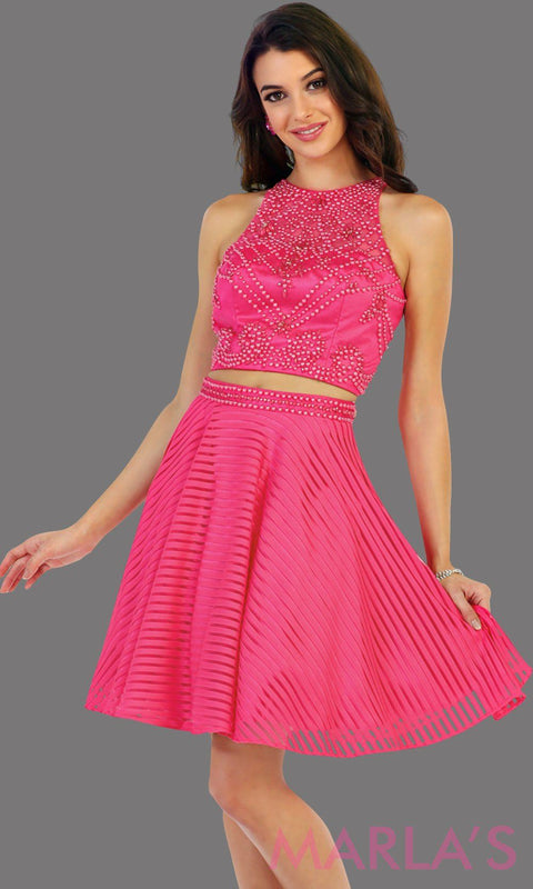 1444-Short two piece flowy hot pink dress with sequin bodice. This is a perfect fucshia grade 8 graduation dress, grad dress, short prom dress, homecoming, or damas. Available in plus sizes.
