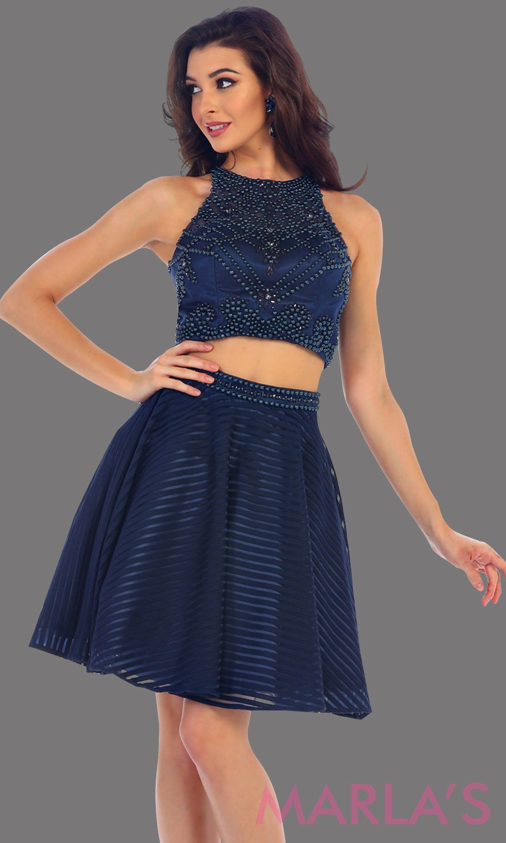 1444-Short two piece flowy navy dress with sequin bodice. This is a perfect dark blue grade 8 graduation dress, grad dress, short prom dress, homecoming, or damas. Available in plus sizes.