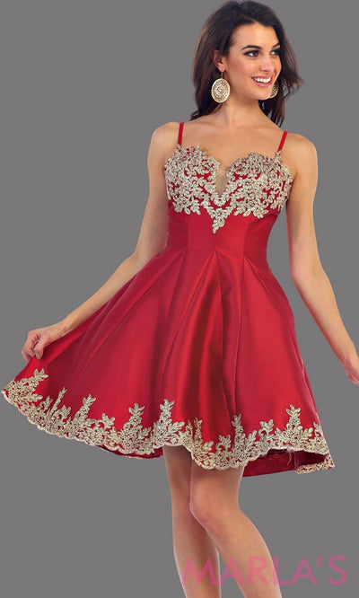 1445-Short satin burgundy grade 8 graduation dress with gold lace detail and straps. This dress features pockets. Perfect dark red short prom dress, confirmation dress, damas, and wedding guest dress. Available in plus sizes.
