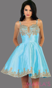 1445Short satin aqua grade 8 graduation dress with gold lace detail and straps. This dress features pockets. Perfect light blue short prom dress, confirmation dress, damas, and wedding guest dress. Available in plus sizes.