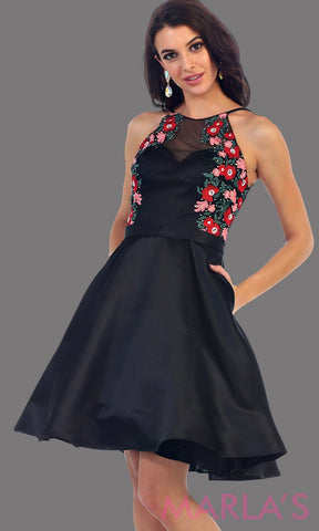 1446-Short high neck black grade 8 graduation dress with floral embroidery. This dress features pockets. Perfect black short prom dress, cofirmation, grad dress, or wedding guest dress, damas. Avail in plus sizes.