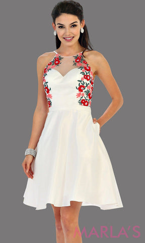 1446-Short high neck white grade 8 graduation dress with floral embroidery. This dress features pockets. Perfect white short prom dress, cofirmation, grad dress, or damas, or bridal shower dress. Avail in plus sizes.
