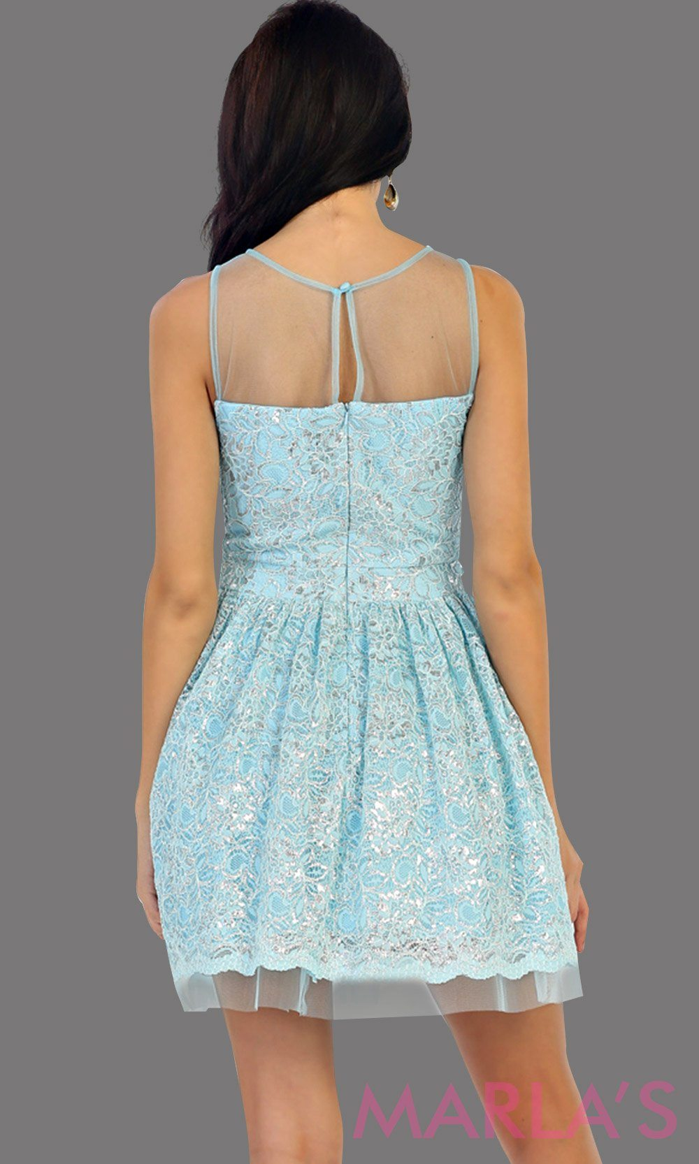 1456-Back of short high neck aqua grade 8 graduation lace dress. Perfect blue short prom dress, cofirmation, grad dress, or wedding guest dress, damas. Available in plus sizes