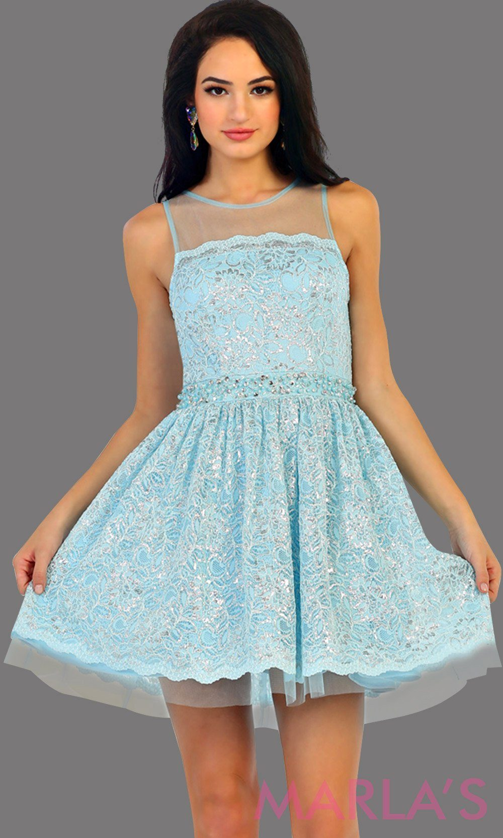 1456-Short high neck aqua grade 8 graduation lace dress. Perfect blue short prom dress, cofirmation, grad dress, or wedding guest dress, damas. Available in plus sizes.