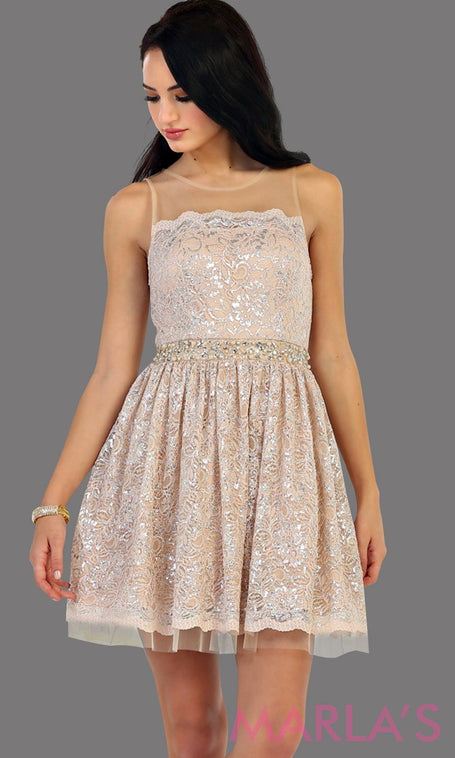 1456-Short high neck champagne grade 8 graduation lace dress. Perfect light taupe short prom dress, cofirmation, grad dress, or wedding guest dress, damas. Available in plus sizes