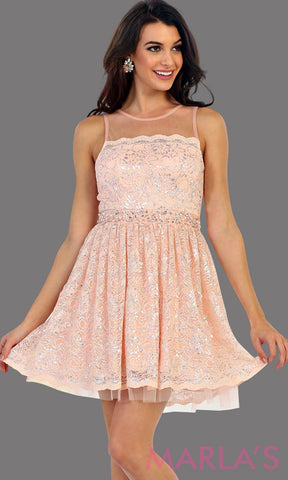 1456-Short high neck pink grade 8 graduation lace dress. Perfect blush short prom dress, cofirmation, grad dress, or light pink wedding guest dress, damas. Avail in plus sizes