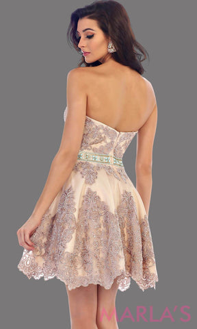 1461-Back of short strapless mocha sweetheart dress with lace detail. This is a perfect bridal shower dress, grade 8 graduation dress, grad, confirmation dress, short quinceanera. Available in plus sizes.