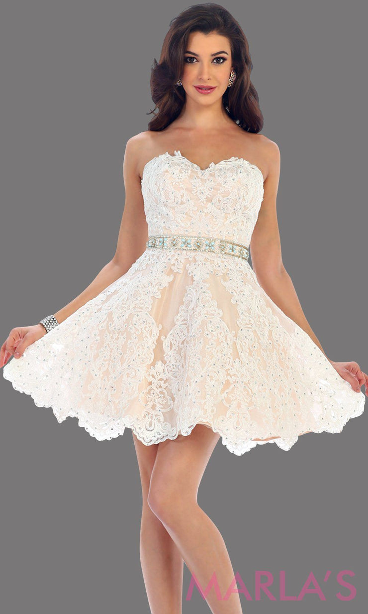1461-Short strapless ivory sweetheart dress with lace detail. This is a perfect bridal shower dress, grade 8 graduation dress, grad, bridal shower dress, confirmation dress. Available in plus sizes.