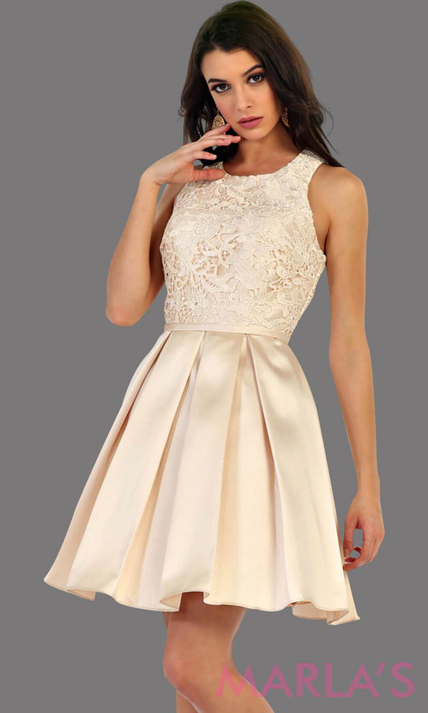 1463-Short taffeta champagne dress with lace bodice. This beige grade 8 grad dress has a high neck and built in cups. Perfect for confirmation, graduation, wedding guest dress, homecoming, short prom dress, and damas. Available in plus sizes