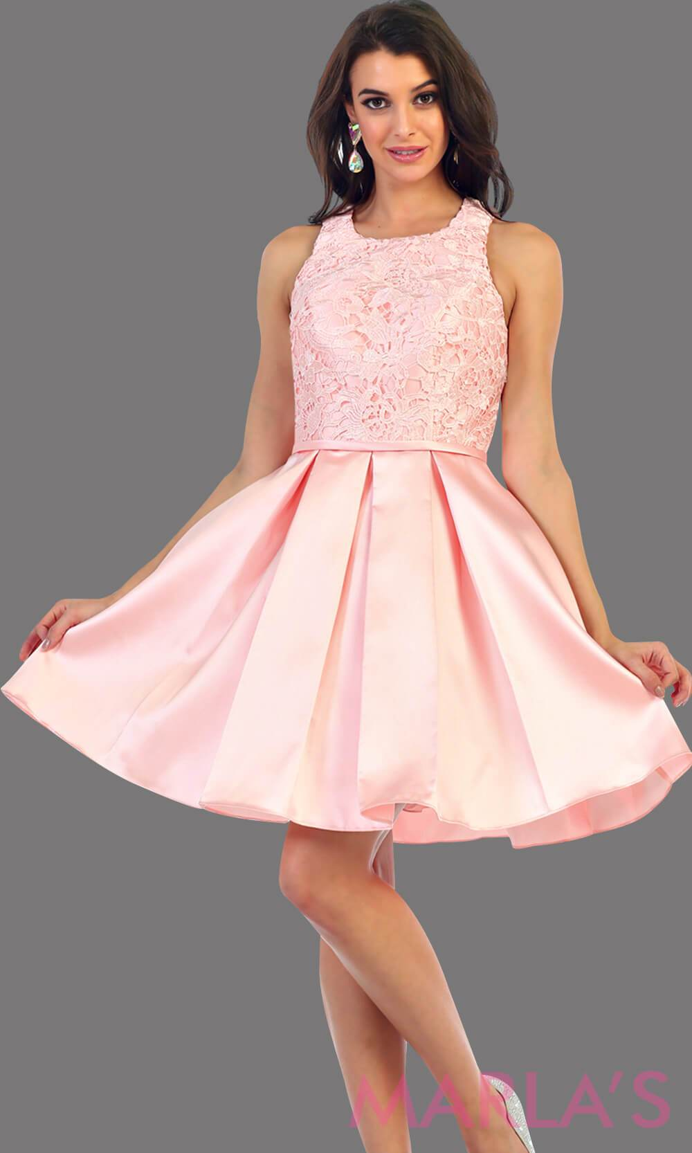 1463-Short taffeta pink dress with lace bodice. This blush grade 8 grad dress has a high neck and built in cups. Perfect for confirmation, graduation dress, wedding guest dress, homecoming, short prom dress, and damas. Avail in plus sizes